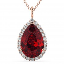 Halo Ruby & Diamond Pear Shaped Pendant Necklace 14k Rose Gold (8.34ct)