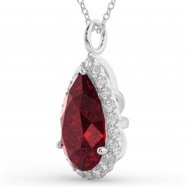 Halo Ruby & Diamond Pear Shaped Pendant Necklace 14k White Gold (8.34ct)