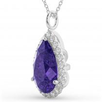 Halo Tanzanite & Diamond Pear Shaped Pendant Necklace 14k White Gold (8.34ct)