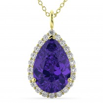 Halo Tanzanite & Diamond Pear Shaped Pendant Necklace 14k Yellow Gold (8.34ct)