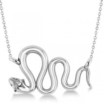Diamond Swirl Snake Pendant Necklace Women's 14k White Gold