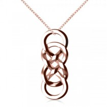 Vertical Double Infinity Pendant Necklace Plain Metal 14k Rose Gold