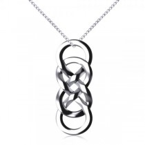 Vertical Double Infinity Pendant Necklace Plain Metal 14k White Gold
