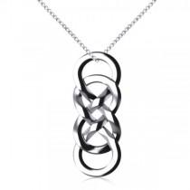 Vertical Double Infinity Pendant Necklace Plain Metal 14k White Gold