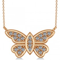 Diamond Butterfly Pendant Necklace 14k Rose Gold (0.24ct)