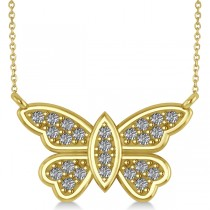 Diamond Butterfly Pendant Necklace 14k Yellow Gold (0.24ct)