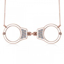 Diamond Accented Handcuffs Pendant Necklace in 14k Rose Gold (0.14ct)