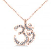 Ohm Sign Diamond Pendant Necklace 14k Rose Gold (0.34ct)