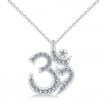 Ohm Sign Diamond Pendant Necklace 14k White Gold (0.34ct)