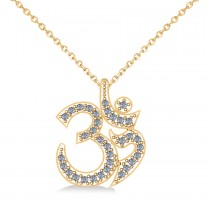 Ohm Sign Diamond Pendant Necklace 14k Yellow Gold (0.34ct)