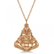 Women's Buddha Necklace Pendant 14k Rose Gold