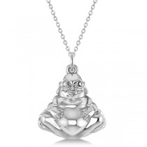 Women's Buddha Necklace Pendant 14k White Gold