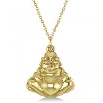 Women's Buddha Necklace Pendant 14k Yellow Gold