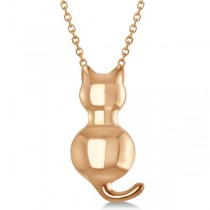 Cat Shaped Pendant Necklace 14k Pink Gold