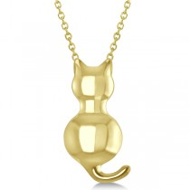 Cat Shaped Pendant Necklace 14k Yellow Gold