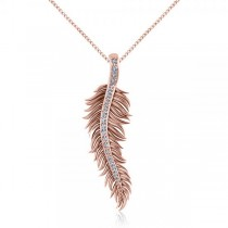 Diamond Accented Feather Pendant Necklace in 14k Rose Gold (0.10ct)