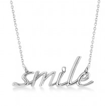 Smile Pendant Necklace 14k White Gold