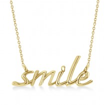 Smile Pendant Necklace 14k Yellow Gold