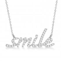 Diamond Smile Pendant Necklace 14k White Gold (0.25ct)