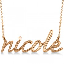 Personalized Script Font Name Pendant Necklace in Solid 14k Rose Gold
