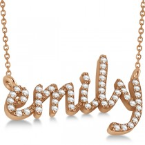 Personalized Diamond Name Pendant Necklace 14k Rose Gold