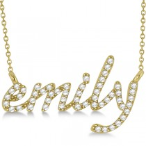 Personalized Diamond Name Pendant Necklace 14k Yellow Gold