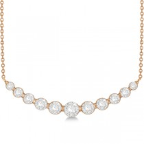 Curved Necklace Diamond Accented 14k Rose Gold (1.00ct)