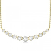 Curved Necklace Diamond Accented 14k Yellow Gold (1.00ct)