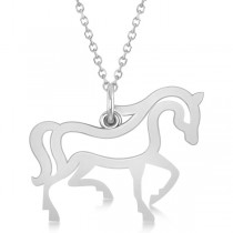 Galloping Horse Pendant Necklace Plain Metal 14k White Gold