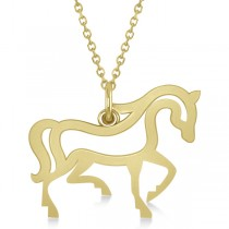 Galloping Horse Pendant Necklace Plain Metal 14k Yellow Gold
