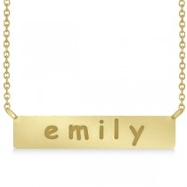 Personalized Engraved Name Necklace Bar Pendant 14k Yellow Gold