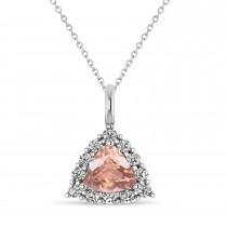 Diamond & Morganite Trillion Cut Pendant Necklace 14k White Gold (1.24ct)
