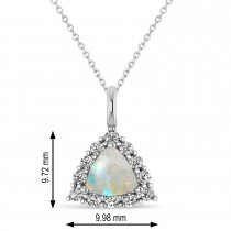 Diamond & Opal Trillion Cut Pendant Necklace 14k White Gold (1.24ct)