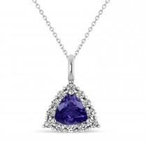 Diamond & Tanzanite Trillion Cut Pendant Necklace 14k White Gold (1.53ct)