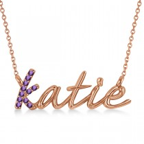 Personalized Amethyst Nameplate Pendant Necklace 14k Rose Gold