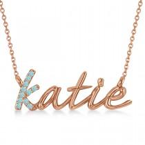 Personalized Aquamarine Nameplate Pendant Necklace 14k Rose Gold