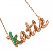 Personalized Emerald Nameplate Pendant Necklace 14k Rose Gold