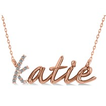 Personalized Diamond Nameplate Pendant Necklace 14k Rose Gold