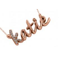Personalized Diamond Nameplate Pendant Necklace 14k Rose Gold