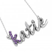 Personalized Amethyst Nameplate Pendant Necklace 14k White Gold