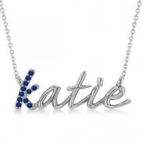 Personalized Blue Sapphire Nameplate Pendant Necklace 14k White Gold