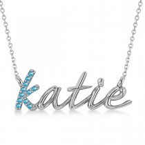 Personalized Blue Topaz Nameplate Pendant Necklace 14k White Gold