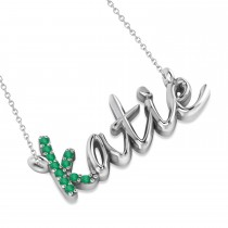 Personalized Emerald Nameplate Pendant Necklace 14k White Gold