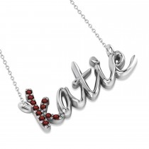Personalized Garnet Nameplate Pendant Necklace 14k White Gold