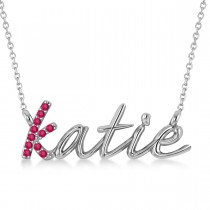 Personalized Ruby Nameplate Pendant Necklace 14k White Gold