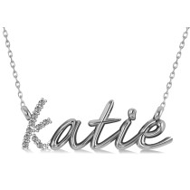 Personalized Diamond Nameplate Pendant Necklace 14k White Gold