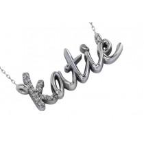 Personalized Diamond Nameplate Pendant Necklace 14k White Gold