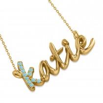 Personalized Aquamarine Nameplate Pendant Necklace 14k Yellow Gold