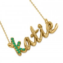 Personalized Emerald Nameplate Pendant Necklace 14k Yellow Gold