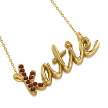 Personalized Garnet Nameplate Pendant Necklace 14k Yellow Gold